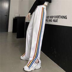 Chimerica - Rainbow Striped Zip-Accent Sweatpants