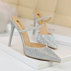 TREL(テレル) - Rhinestone Accent High Heel Sandals