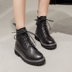 Shoes Galore - Faux Leather Lace-Up Short Boots
