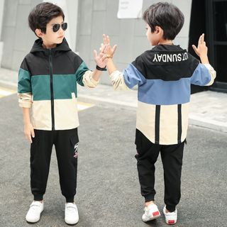 PAM - Kids Set: Color Bloc Zip Hooded Jacket + Harem Pants
