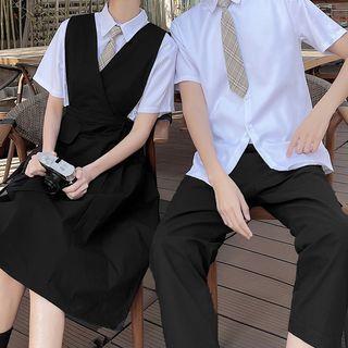 Tabula Rasa - 情侣款短袖纯色衬衫 / 背带连衣裙 / 九分裤 / 格子领带