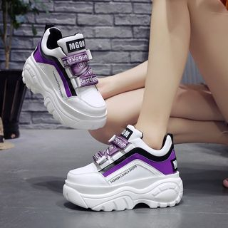 Sleeko - Lettering Color Block Platform Sneakers