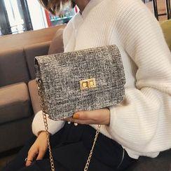 Polnocna - Twist Lock Tweed Crossbody Bag