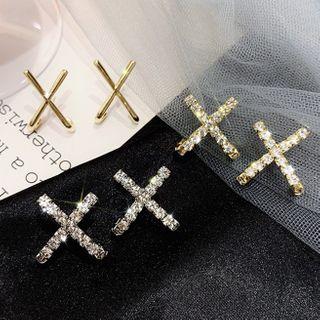 Catalunya - Rhinestone Cross Ear Stud