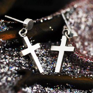 Sterlingworth - Single Sterling Silver Cross Earring