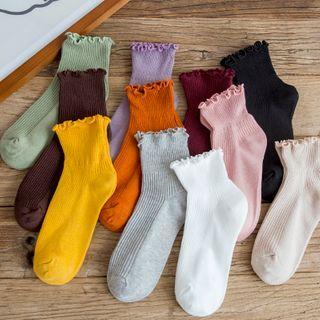 Mimiyu - 五对套装: 波浪边袜子