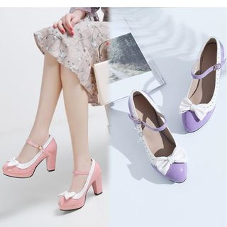Freesia - Bow Accent Patent Chunky-Heel Mary Jane Pumps