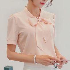 Bornite - 领结带短袖雪纺衬衫
