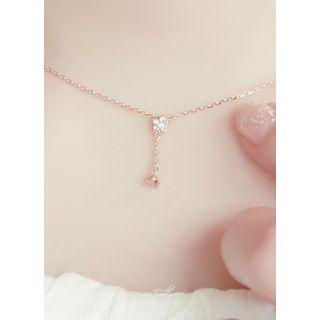 kitsch island - Rhinestone Mini Lariat Pendant Necklace