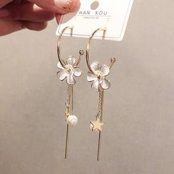 LIVSIA - Non-matching Flower Star & Faux Pearl Fringed Earring