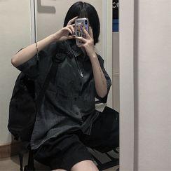 Koiyua - Short-Sleeve Denim Shirt