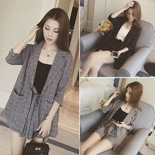 Muezz - Set: Single Breasted Blazer + Tie-Waist Shorts + Camisole Top