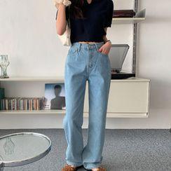 MERONGSHOP - Washed Wide-Leg Jeans