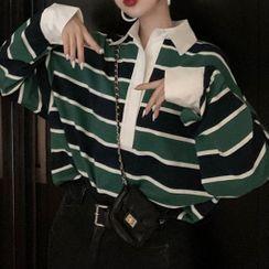 Grendi - Long-Sleeve Striped Polo Shirt