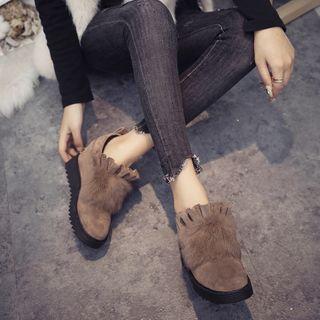 Aneka - Furry Ruffled Hidden-Wedge Ankle Boots
