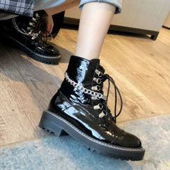 Anran - Chained Platform Lace-Up Ankle Boots