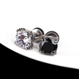 Prushia(プルシア) - Stainless Steel Rhinestone Plug Earring