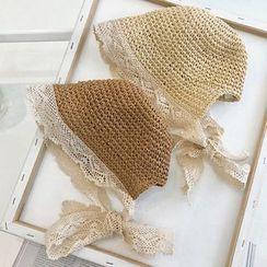 Meridion - Kids Lace Trim Straw Bonnet Hat