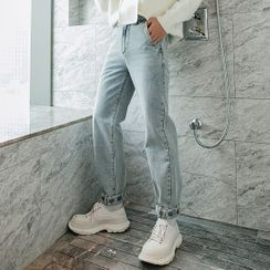 CHIC ERRO - Washed Straight-Leg Jeans