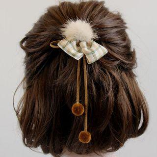 Cheveux - Pom Pom Plaid Hair Tie