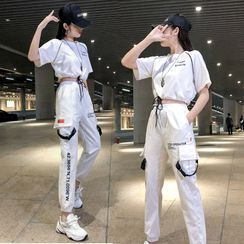 Robynn - Set: Elbow-Sleeve Cropped T-Shirt + Cargo Jogger Sweatpants
