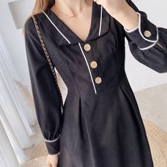 Tangihouse - Long-Sleeve Slim-Fit A-Line Dress