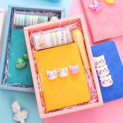Eranso - Set: Animal Small Notebook + Squishy Pen + Masking Tape