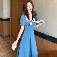 Bebop - Puff-Sleeve Sailor Collar A-Line Midi Dress