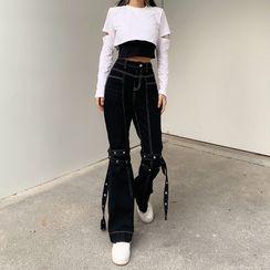 BrickBlack - Contrast Stitch Straight Jeans