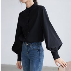 Akino - Mandarin-Collar Balloon-Sleeve Blouse