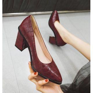 JY Shoes - Croc Grain Pointy-Toe Chunky-Heel Pumps