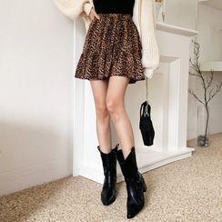 DEEPNY - Inset Shorts Frilled Leopard Miniskirt