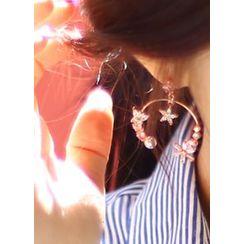 kitsch island - Flower Rhinestone Open-Hoop Dangle Earrings