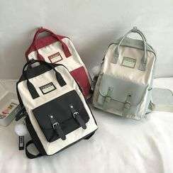 Mini Mia - Color Block Top Handle Nylon Backpack