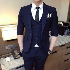 Hawoo(ハウー) - Suit Set: 3/4-Sleeve Blazer + Dress Vest + Cropped Dress Pants
