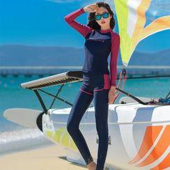 Oceanid - 套裝: 撞色長袖防曬衣 + 長泳褲 + 游泳短褲 + 比基尼泳衣下裝