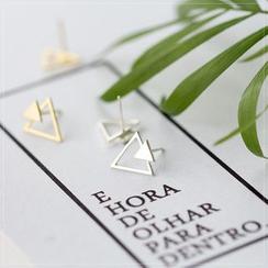 A'ROCH - Pendientes de botón con triángulo en plata de primera ley
