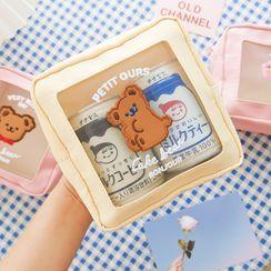 Hearthpi - Cartoon Bear Embroidered Mesh Panel Zip Pouch