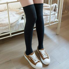 Fliss - Set Of 2 Pairs: Plain Thigh High Socks