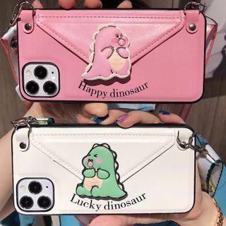 CeLLEAGUE - Cute Dinosaur Card Holder Phone Case - iPhone / Huawei