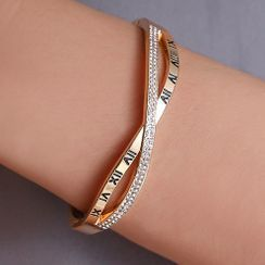 Mulyork - Alloy Roman Numeral Rhinestone Layered Bangle