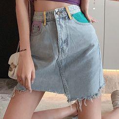 Dear Yours - Color Block Denim Mini Skirt