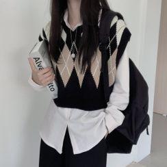 Leoom - Argyle Pattern Knit Vest