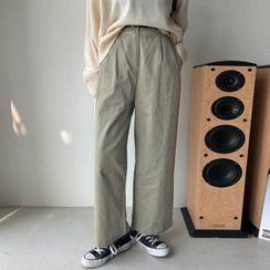 MERONGSHOP - Pintuck-Front Wide-Leg Pants