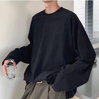 YERGO - Plain Long-Sleeve Oversize T-Shirt
