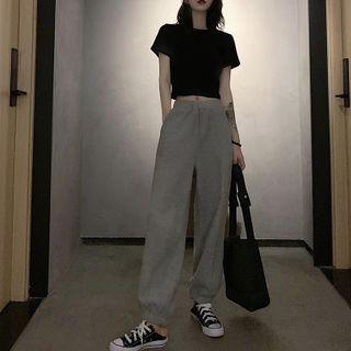 Apotheosis - 套裝: 短袖短款T裇 + 寬腿褲