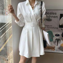 DEEPNY - Pintuck-Waist Wrap Shirtdress With Belt
