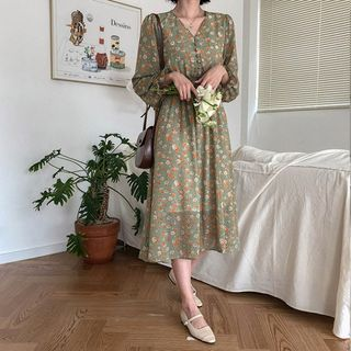MERONGSHOP - Buttoned Smocked-Waist Long Floral Dress