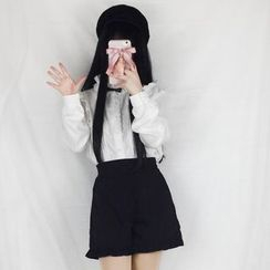 YUE STUDIO(ユエスタジオ) - High Waist Shorts / Striped Double-Breasted  Jacket / Ruffle Trim Blouse / Set