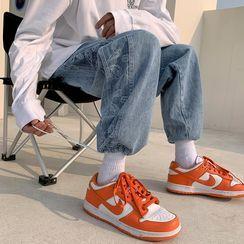 子俊 - 佩斯利圖案印花抽繩工裝牛仔褲